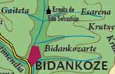 El término Bidankozarte en un mapa topográfico