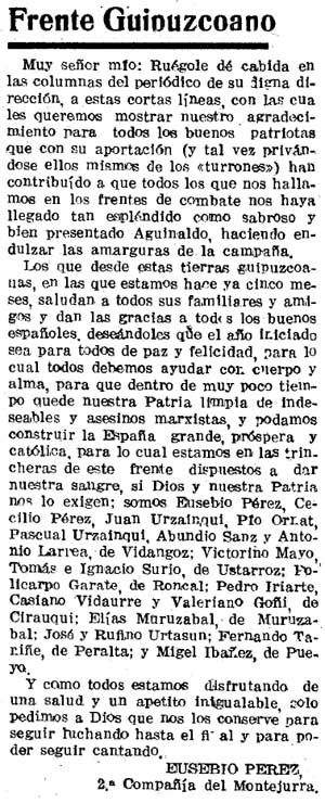 Recorte del Diario de Navarra del 12/02/1937.