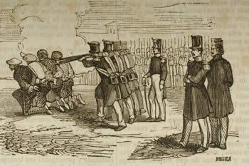 Fusilamiento de carlistas, bando al que pertenecía Manuel Mendigacha, padre de Mariano.
