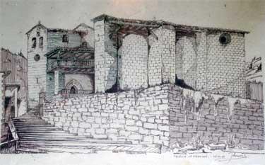 Dibujo de la iglesia de Vidángoz realizado en 1978