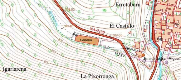 Igariarena en un mapa topográfico antiguo (indica serrería en vez de quesería)