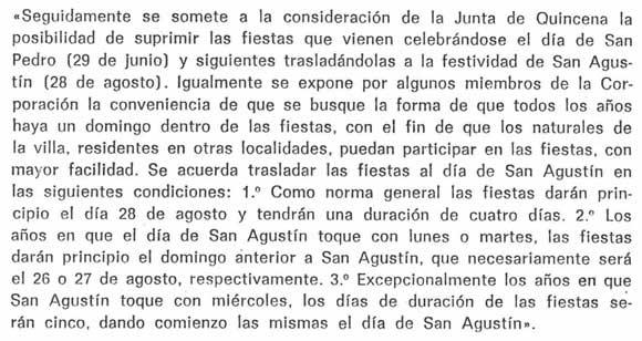 1970: Acuerdo municipal para cambiar las fiestas patronales de fecha