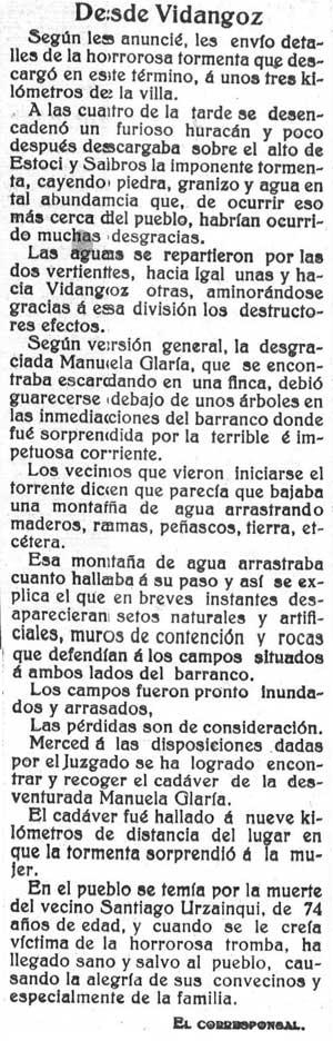 La riada de 1915, en el Diario de Navarra del 13/06/1915