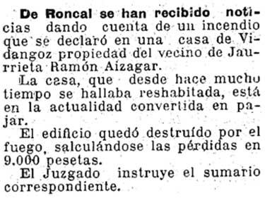 Recorte del Diario de Navarra del 19/02/1933