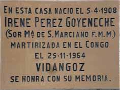 Placa en homenaje a Irene Pérez Goyeneche, natural de casa Diego