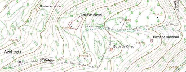Azaltegia en un mapa topográfico