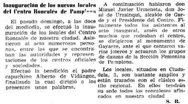 Recorte del Diario de Navarra del 30/06/1964