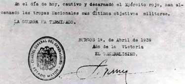 Parte que indica el final de la última guerra civil (01/04/1939)