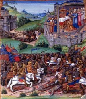 Grabado sobre la batalla de Cocherel (1364), en la que los reinos de Navarra e Inglaterra se enfrentaron al de Francia.