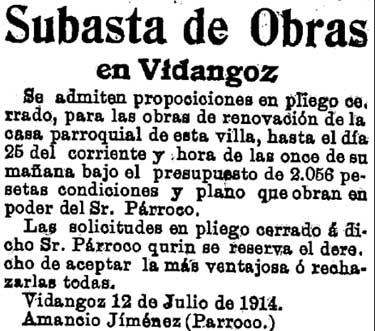 Recorte del Diario de Navarra de julio de 1914.