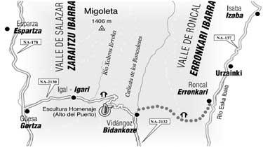 """Mapa de la carretera Igal-Vidángoz-Roncal que hicieron los prisioneros (Fuente: """"Esclavos del franquismo en el Pirineo"""" (Txalaparta, 2006))"""