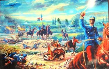 Luperón, victorioso tras una batalla al mando de los dominicanos.