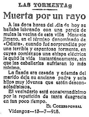 Recorte del Diario de Navarra del 15/07/1915