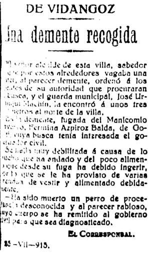 Recorte del Diario de Navarra del 25/07/1915