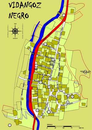 Mapa de Vidángoz que indica los lugares donde suceden las historias